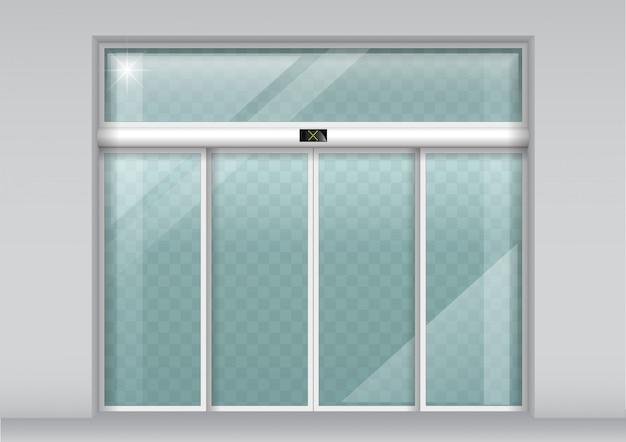 Double portes coulissantes en verre avec capteur automatique