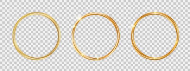 Doubles montures rondes brillantes aux effets lumineux. ensemble de trois cadres ronds doubles dorés avec des ombres sur fond transparent. illustration vectorielle