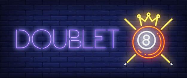 Doublet néon texte avec boule, couronne et queues