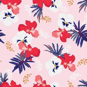 Douce humeur de motif sans semelles floral botanique jardin fleuri dessiné à la main