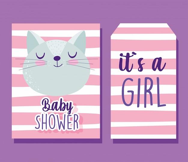 Douche de bébé, bannière de fond rayures dessin animé mignon visage de chat