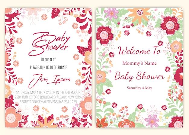 Douche de bébé de carte de décor floral.