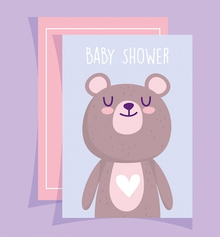 Douche de bébé, carte d'invitation de dessin animé mignon nounours amour coeur