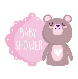 Douche de bébé, carte de voeux de dessin animé mignon coeur animal ours mignon