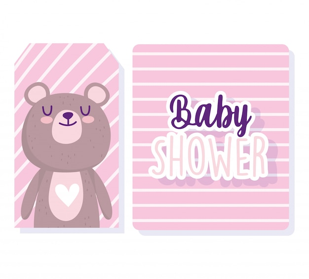 Douche de bébé, cartes de fond de rayures de dessin animé animal mignon ours
