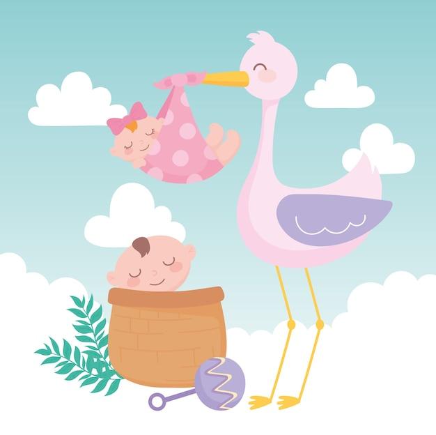 Douche de bébé, cigogne avec fille et garçon en dessin animé de panier, célébration bienvenue nouveau-né