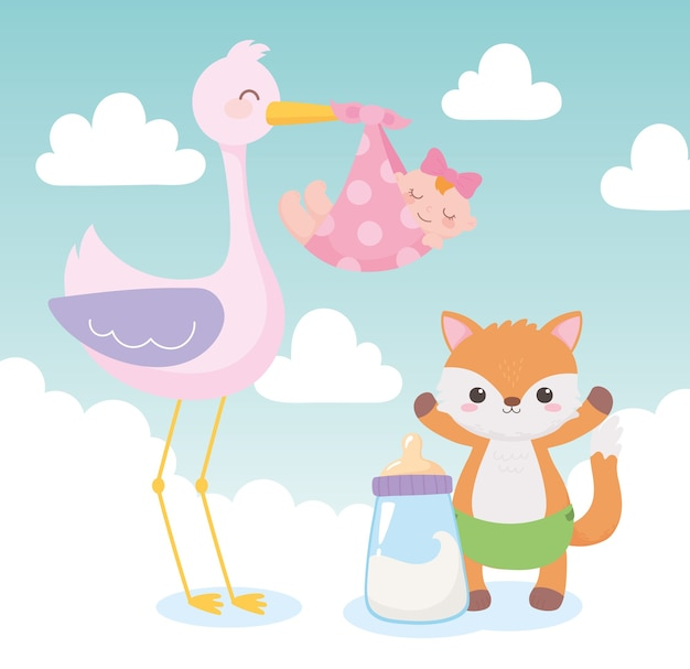 Douche de bébé, cigogne avec petite fille et dessin animé de renard, célébration bienvenue nouveau-né