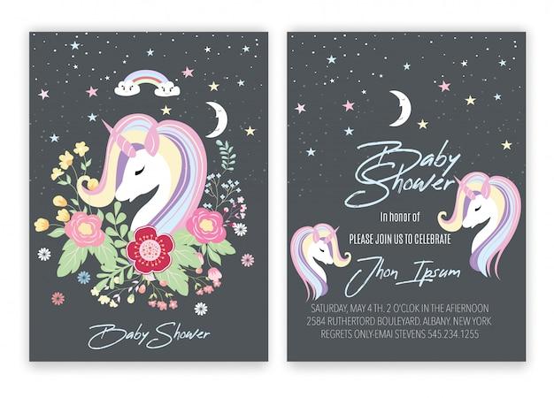 Douche de bébé de décor de licorne floral de carte de licorne.