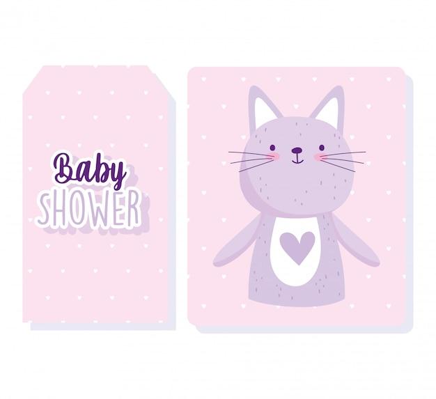 Douche de bébé, dessin animé mignon chat animal portrait coeurs fond carte d'invitation