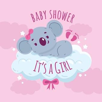 Douche de bébé fille avec koala