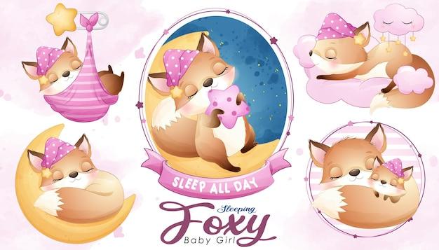 Douche de bébé foxy endormi mignon avec jeu d'illustrations à l'aquarelle