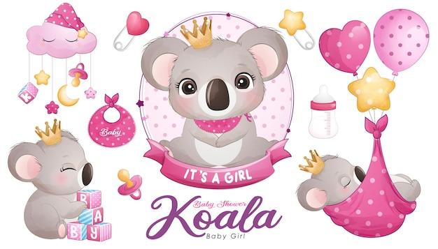Douche de bébé koala mignon doodle avec jeu d'illustrations à l'aquarelle