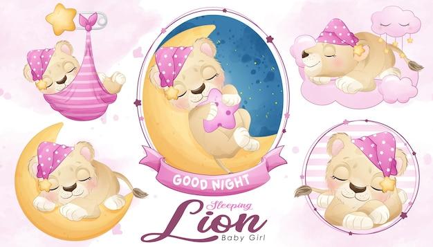 Douche de bébé lion endormi mignon avec jeu d'illustrations à l'aquarelle