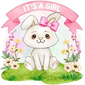 Douche de bébé mignon aquarelle lapin fille