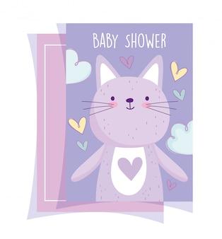 Douche de bébé, mignon petit chat animal coeurs amour dessin animé de carte d'invitation