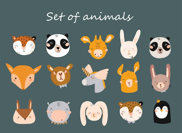 Douche de bébé mignonne dans un style scandinave, y compris des citations à la mode et des éléments dessinés à la main décoratifs animaux cool