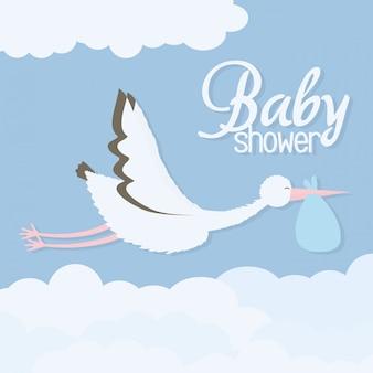 Douche de bébé. oiseau cigogne volant avec sac