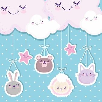 Douche de bébé suspendus animaux mignons fait face à des nuages étoiles illustration vectorielle de dessin animé