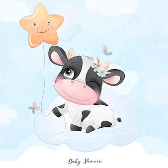 Douche de bébé vache doodle mignon avec illustration aquarelle