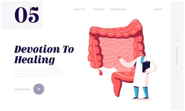 Douleur abdominale, modèle de page de destination de maladie du système gastro-intestinal.