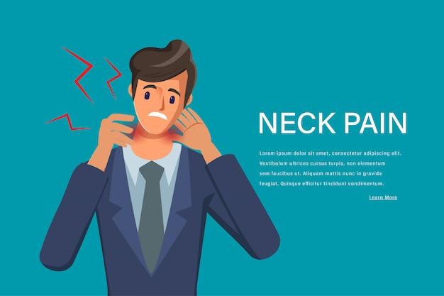 Douleur au cou du jeune homme, sentiment de caractère épuisé. douleur au cou. centre médical des soins de santé.