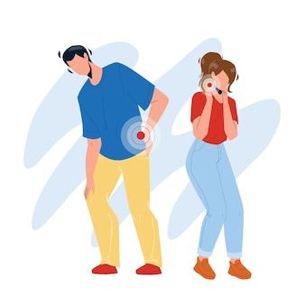 Les douleurs au cou et au dos ont un vecteur de couple garçon et fille. tristesse jeune homme et femme souffrant de douleur de partie du corps. les personnages souffrent de problèmes de santé et de maladies illustration de dessin animé plat