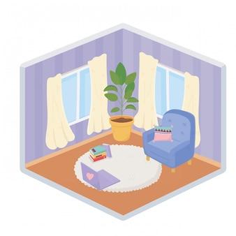 Doux accueil canapé chaise coussin ordinateur portable plante tapis fenêtre rideaux style isométrique