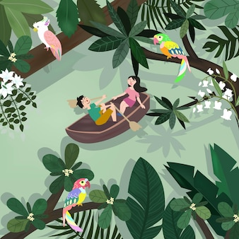 Doux amant heureux drôle en forêt tropicale botanique.