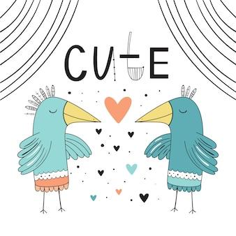 Doux, amoureux des oiseaux