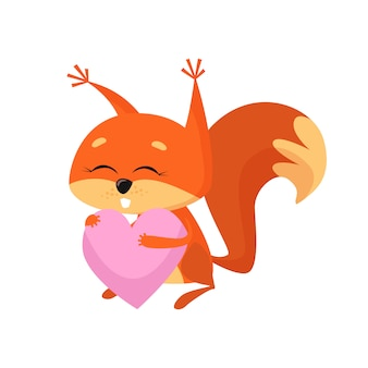 Doux bébé écureuil tenant coeur rose