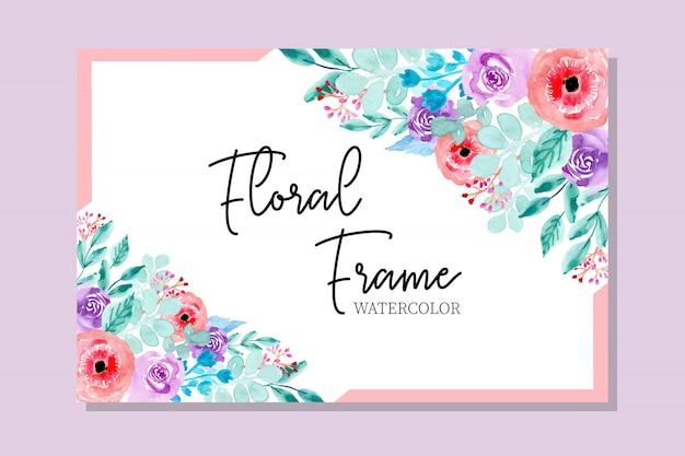 Doux cadre floral aquarelle