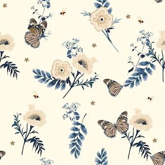 Doux doux illustration romantique printemps floraison florale fleurs botaniques