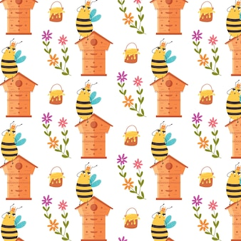Doux motif miel reine des abeilles. papier vectoriel numérique pour enfants avec des insectes à rayures noires jaunes