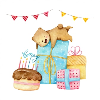 Le doux petit ours polaire est heureux de beaucoup de gros cadeaux pour la fête d'anniversaire.
