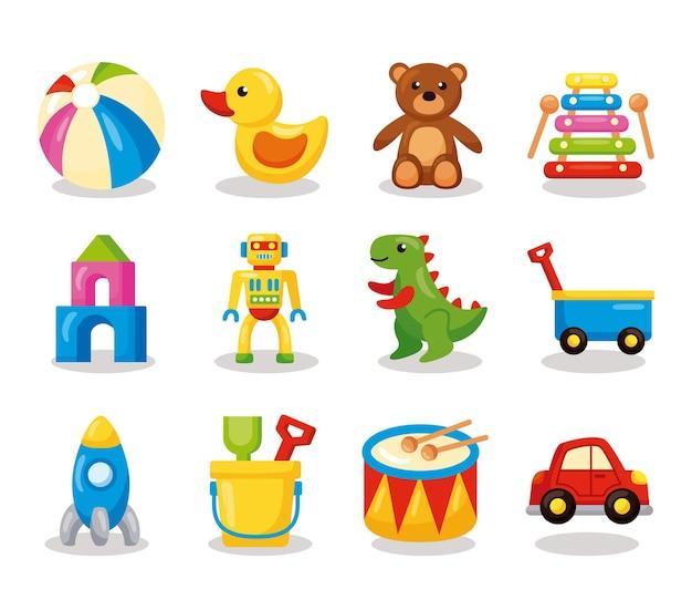 Douze enfants jouets mis icônes