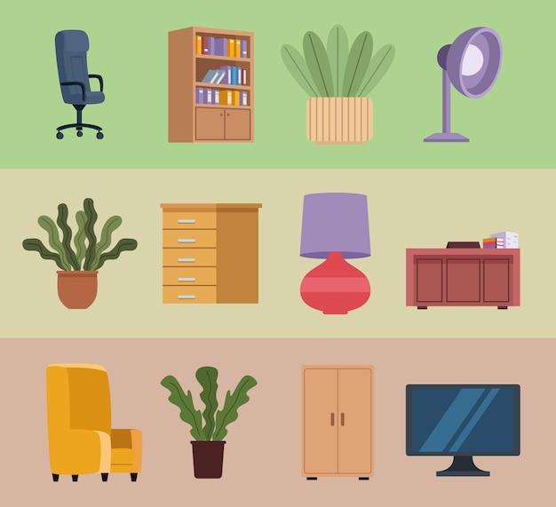 Douze icônes de bureau de meubles