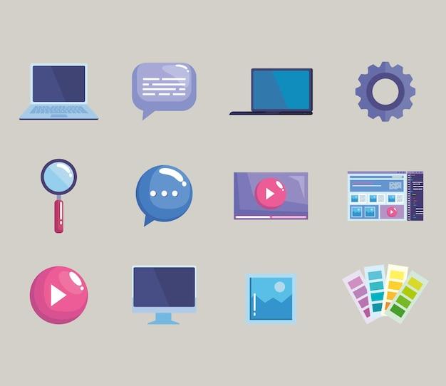 Douze icônes de conception de sites web