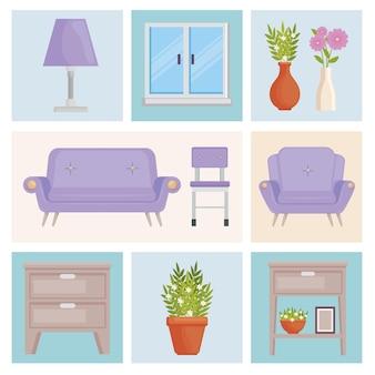 Douze icônes de décoration intérieure