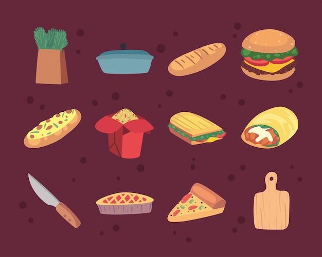 Douze icônes d'ensemble de nourriture à la maison