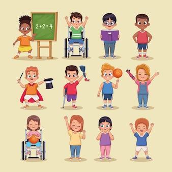 Douze personnages d'enfants handicapés