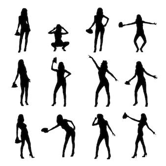 Douze silhouettes élégantes de fille au chapeau