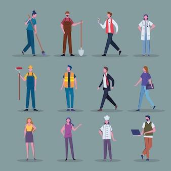 Douze travailleurs professionnels