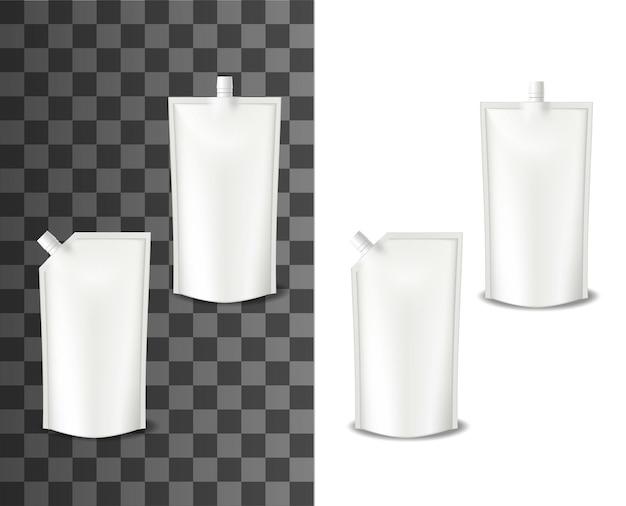 Doypack mayonnaise, emballage réaliste ou pack doy, vecteur isolé. sauce mayonnaise doypack ou récipient en sachet en plastique avec couvercle, maquette d'emballage sur fond transparent