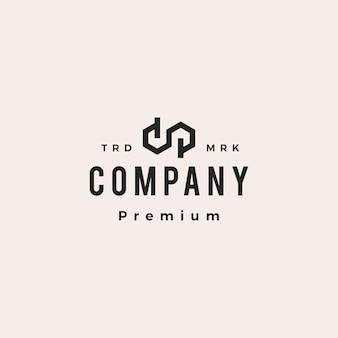 Dp lettre marque infini monogramme hipster logo vintage icône illustration
