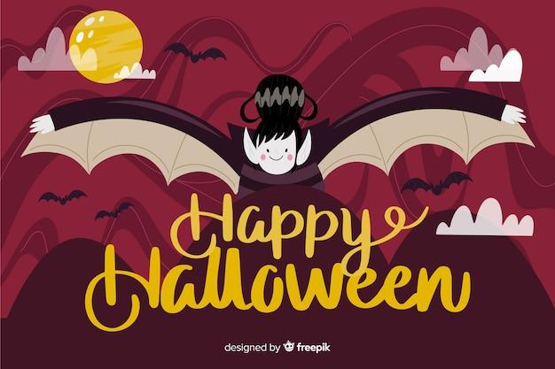 Dracula fond d'halloween au design plat
