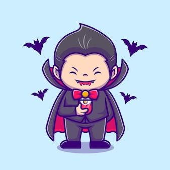 Dracula mignon boire du jus de sang avec illustration d'icône de dessin animé de chauve-souris. concept d'icône de vacances de personnes isolé. style de bande dessinée plat