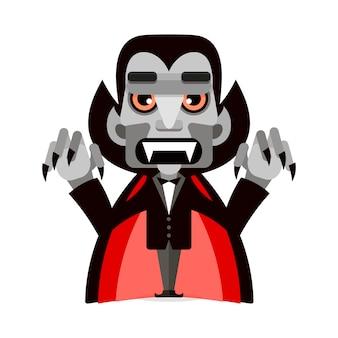 Dracula Mignon Dans Une Cape Vecteur Premium