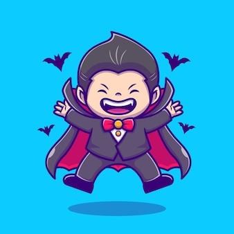 Dracula mignon avec illustration d'icône de dessin animé de chauve-souris. concept d'icône de vacances de personnes isolé. style de bande dessinée plat