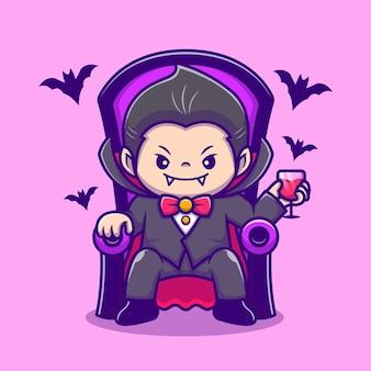 Dracula mignon s'asseoir sur le canapé avec le jus de sang et l'illustration d'icône de dessin animé de chauve-souris. concept d'icône de vacances de personnes isolé. style de bande dessinée plat