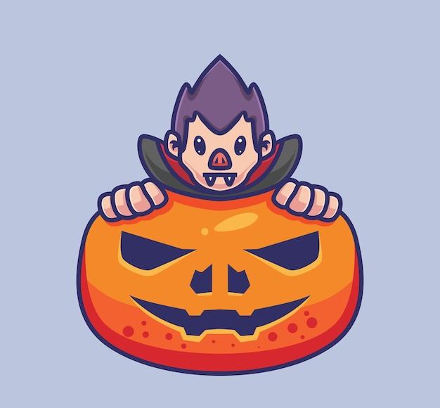 Dracula mignon se cache sur une citrouille géante. illustration d'halloween de dessin animé isolé. style plat adapté au vecteur de logo premium sticker icon design. personnage mascotte